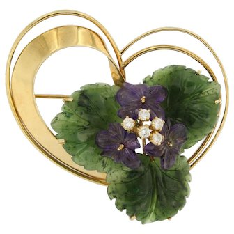 18k Golden Brooch with Three Purple Diamonds and Amethyst Flowers and Green Nephrite Leafs, ca. 1960