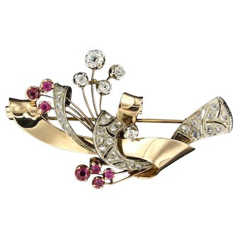 Diamond and Ruby Retro Brooch, ca 1950