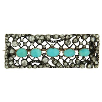 Victorian Brooch set with Diamonds and Turquoise, ca 1890