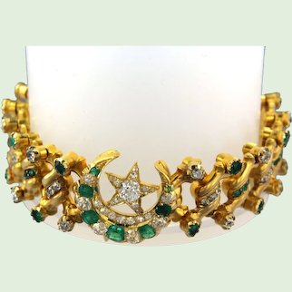Early 20th century British bracelet with emeralds and diamonds