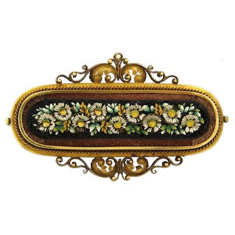 Vintage Brooch with Micro Mosaic flowers, ca 1910