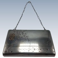 Russian 84 Silver & Gold Monogram Engraved Purse with Chain Handle