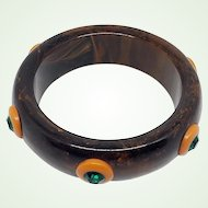 Rare Bakelite Bangle Bracelet Marbled Brown with Butterscotch Yellow Discs Studs Green Rhinestones 67 Grams