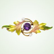Lyrical Art Nouveau 14k Gold & Enamel Krementz Brooch Leaves Pearls Amethyst Center Antique Pin