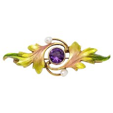 Lyrical Art Nouveau 14k Gold & Enamel Krementz Brooch Leaves Pearls Amethyst Center Antique Pin