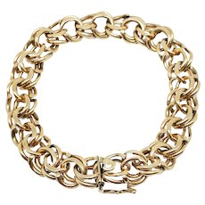 "14K Yellow Gold Double Link Charm Bracelet Vintage Heavy 38.5 gms 7 1/2"""