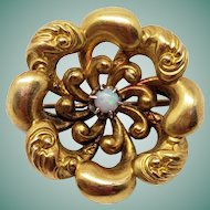Sweet Antique 10K Gold Art Nouveau Brooch with Opal Floral / Flower Design