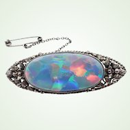 Arts and Crafts Australian School White Cliffs Opal Doublet Set in Sterling Silver Brooch Safety Chain