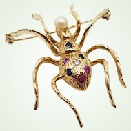14K Yellow Gold Spider Brooch with Diamond, Sapphires, Rubies, Pearl Lapel Pin