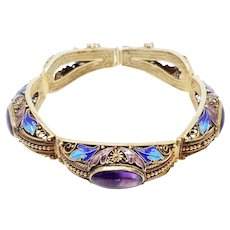 Fine Vintage Chinese Gilt Silver Filigree & Amethyst Enamel Work Bracelet with Box