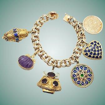 Wonderful Heavy 14K / 18K Gold Charm Bracelet: Etruscan; Plique a Jour; Carved Amethyst; Garnets; Lapis Heart