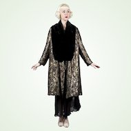 1930s French Opera Coat Metallic Lamé & Black Silk Velvet Reversible Art Deco Pattern