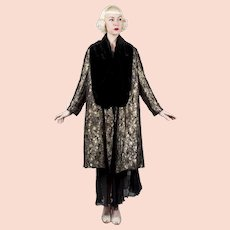 1930s French Opera Coat Metallic Lamé & Black Silk Velvet Reversible Art Deco Pattern