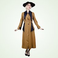 Rare Edwardian 1910s Suffragette Coat Fine Tan Wool Deep Satin Collar Lots of Buttons