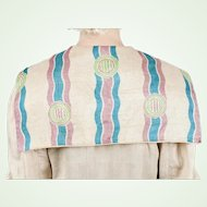 Antique Edwardian 1910s Arts & Crafts Raw Pongee Silk Coat with Printed Wavy Design Large Collar