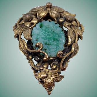 Wonderful 1920s Czech Art Deco Brass & Carved Peking Glass Dress Clip Floral Design