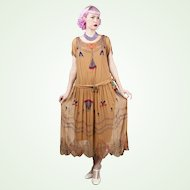 1920s Egyptian Revival Golden Brown Silk Georgette Beaded Dress Vintage Art Deco Museum Piece