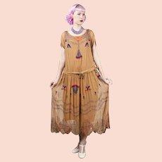 1920s Egyptian Revival Golden Brown Silk Georgette Beaded Dress Vintage Art Deco Museum Piece