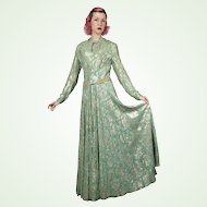 1960S Samuel Spigel Medieval Style Metallic Lamé Evening Gown Vintage Dress