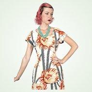 1940s Novelty Print Rayon Dress Ensemble Cactus Flower Design Top & Skirt Vintage
