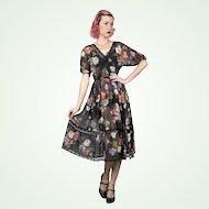 Albert Nipon 1970s Does 1940s Vintage Sheer Floral Fabric Dress