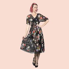 Albert Nipon 1970s Does 1940s Vintage Sheer Floral Fabric Dress