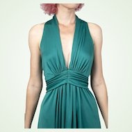 1970S Vintage Emerald Green Polyester Jersey John Charles of London Gown Halter Dress