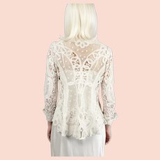 Antique Battenberg Tape Lace Jacket Wedding Circa 1900s Edwardian