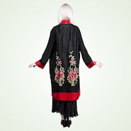 1920s / 1930s Black Rayon Damask Boudoir Robe Kimono Embroidered Flower Baskets Floral Design Art Deco