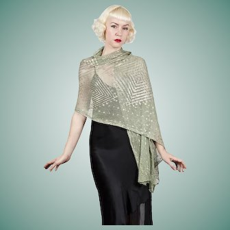 Shimmering Deco Green 1920s Egyptian Assuit Shawl with Hammered Metal Design Diamond Pattern