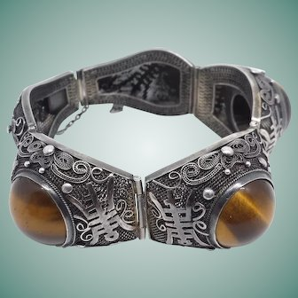 Bold Tiger's Eye Cabochon Chinese Bracelet Silver Wire Work Segmented Art Deco 1920s Export