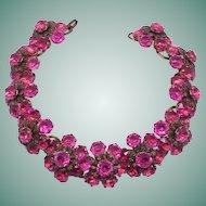 Magnificent 60s Vintage Shocking Pink Rhinestone Flower Choker Necklace Statement Piece