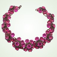 Magnificent 60s Vintage Shocking Pink Rhinestone Flower Choker Necklace Statement Piece