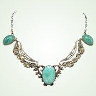 1930s Czech Art Nouveau Peking Glass Stamped Brass Necklace Leaves Motif