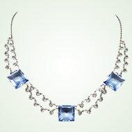 Elegant 1930s Art Deco Sterling Bezel Cut Blue Glass & Crystal Choker Necklace