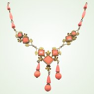 1920s Czech Art Deco Coral Molded Glass Brass Necklace Three Dangles