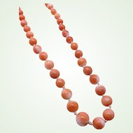 Dainty Antique Natural Salmon Coral Bead Necklace Hand Knotted 14K Gold Clasp