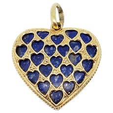 Large Italian 18K Gold Heart Charm Pendant with Lapis Lazuli Stone Open Work