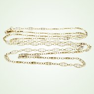 """Delicate and Fine Gold Filled Filigree Chain 30"""" Antique Necklace GF 12 - 20"""