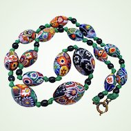 Large & Heavy 1920s Millefiori Venetian Murano Art Glass Bead Necklace