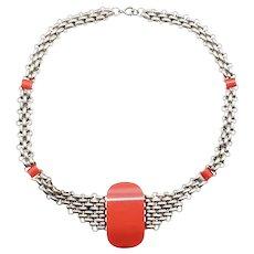 1920s Jakob Bengel Art Deco Machine Age Choker Necklace Chrome Mesh & Red Galalith