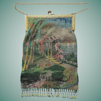 Extra Large Vintage 1920S Glass Beaded Scenic Purse Hand Bag Folly in Garden with Lake & Sailboats Jeweled Frame