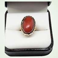 Beautiful Vintage Chinese Oxblood Red Coral 14K Yellow Gold Ring US Size 7.5 Cutwork Bezel