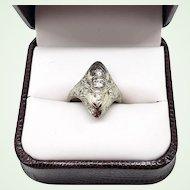 1920s Art Deco Diamond & 18K White Gold Filigree Cocktail Ring US Size 6
