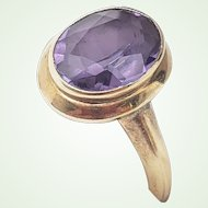 Delicate Antique Amethyst 10K Gold Ring Collet Setting