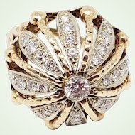 1950s Diamond & 14K Yellow Gold Bombé Bombe Dome Sea Anemone Ring Over 1 Carat