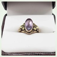 Antique Ring 10K Gold Oval Amethyst Cabochon Grapes and Leaves US Size 4 1/4