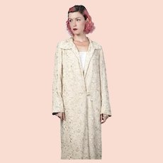 1920s Vintage Embroidered Chinese Full Length Coat Cream Silk Floral Cairo Label