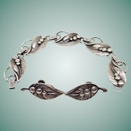 Vintage Art Deco Sterling Silver Leaf & Berries Bracelet and Earring Set Screw Back Scandinavian Influence