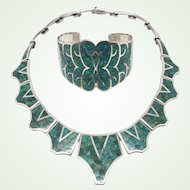 Vintage Arte En Plata Mexican Sterling Silver Malachite Inlay Necklace Bracelet Set Taxco Mexico